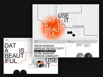 Data is Beautiful brutalist style Interaction swiss style orange monochromatic monochrome black  white landing page 90s brutalist design brutalism product design minimal web ux animation typography simple design ui branding design