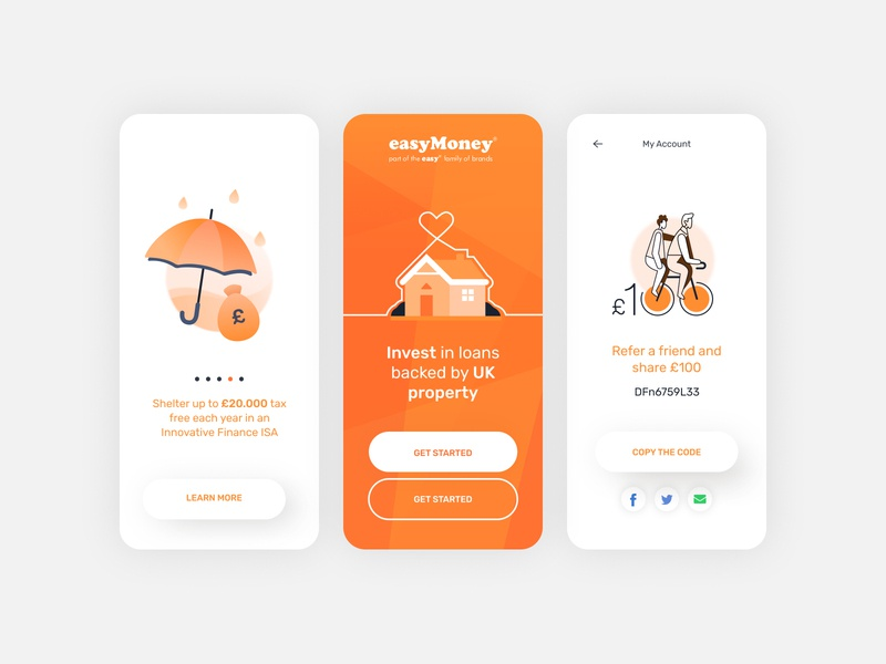 Easy Money App Screens & illustration app illustration gradient fintech app orange clean ui product design minimal ux app geometic typography simple design ui branding illustration design
