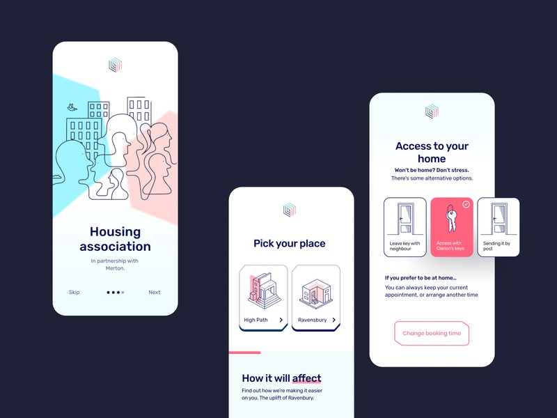 Clarion App UI Design pink pastel colours rubik clean ui user interface userinterface app design community housing pastel product design minimal app ux geometic typography simple design ui illustration design