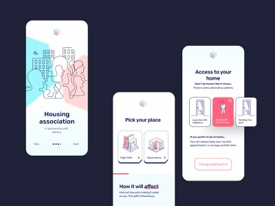 Clarion App UI Design pink pastel colours rubik clean ui user interface userinterface app design community housing pastel product design minimal app ux geometic typography simple design ui illustration design