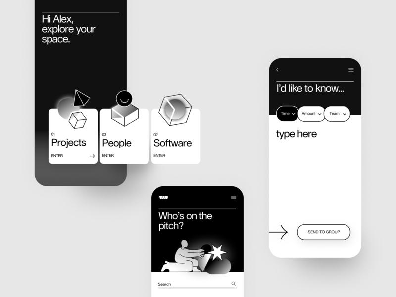 Data is Beautiful App Screens brutalism gradient icons magic black white monocrome monocromatic product design minimal app ux typography simple design geometic branding ui illustration design