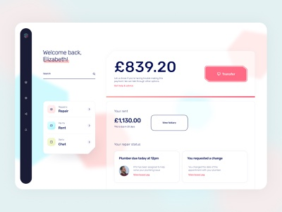 Dashboard Clarion App dashboard ui dashboad userinterface clean ui pink blue pastel hexagon web app product design minimal web ux branding typography simple design geometic ui design