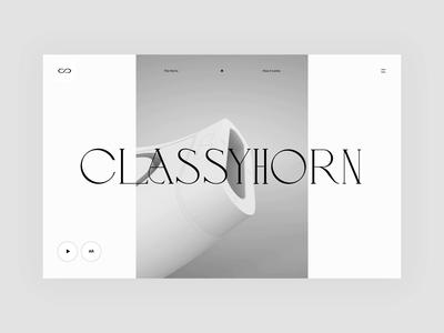 Interaction CLASSY sound elegant black white technology landing page mograph 2d 3d interaction classic product design minimal web branding animation ux ui typography simple design design
