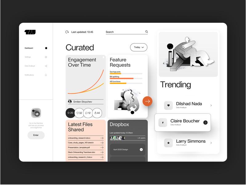 Brutalism Dashboard UI Data Visualisation app dashboard ui dashboad userinterface material orange black  white minimalism brutalism product design minimal web branding ux illustration geometic ui typography simple design design