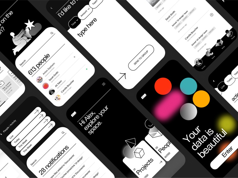 .Team Machine. App screens graphicdesign application app design black  white monochrome design system abstract app minimal product design branding ux illustration geometic ui typography simple design design