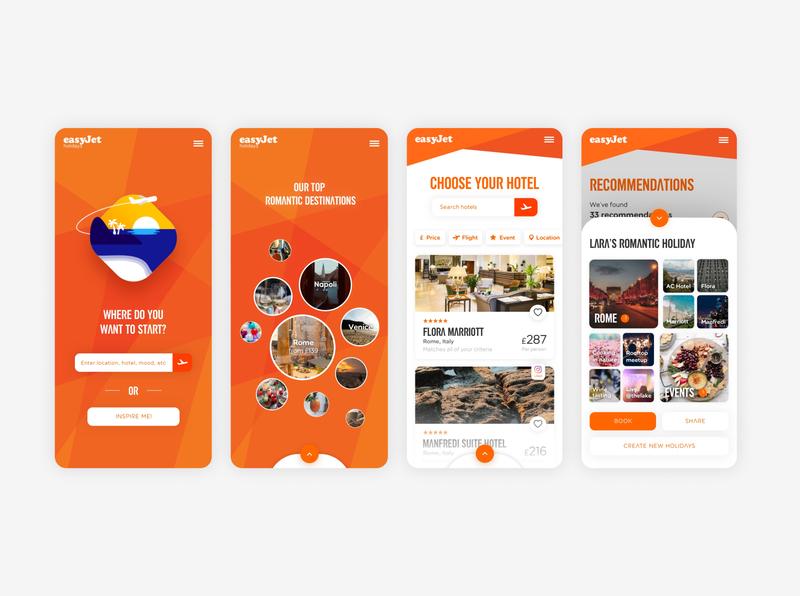 Easy Jet App Interaction material icon menu design social app ui  ux interaction clean orange app ui animation product design app minimal illustration geometic branding ui typography simple design design