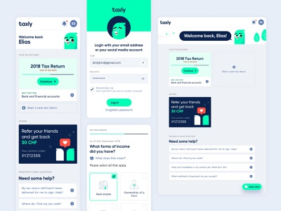 Taxly UI & Roger the bird ui  ux clean green characterdesign ui design app ux product design minimal ui illustration branding typography geometic simple design design