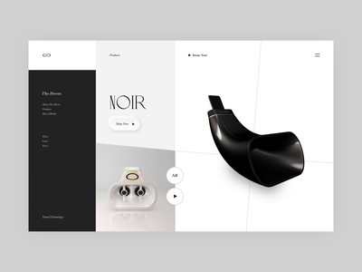 Classy Product Page Interaction animation motion interaction gadget clean luxury music speaker classy elegant ux web product design minimal ui branding typography geometic simple design design