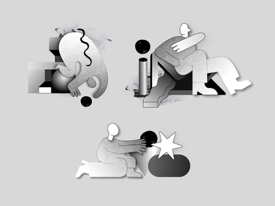 _Playing w/ shapes_Illustrations startup technology mixed media brush illustrations gradient noise monochrome geometry shapes web app product design ui minimal illustration geometic branding simple design design