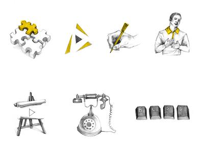Hand drawn web icons hover animation yellow design app branding icon web icons set illustration
