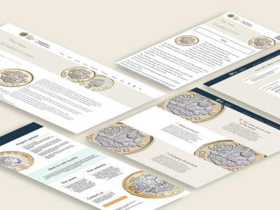The New £1 coin web + email white gold coin email web ux ui simple design geometic branding typography design