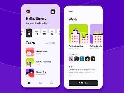 Task Manager - Mobile App Concept calendar color palette ratio golden grid flat design concept ui ux application figma task manager saas typography product design mobile illustration arounda
