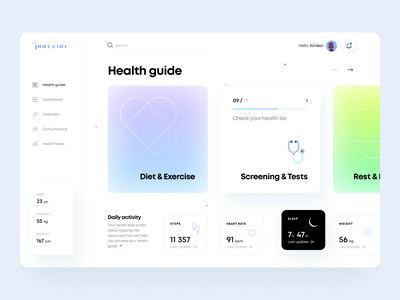 Health Guide - Web App palette golden grid design concept ui ux dashboard figma schedule notification planner gradient pills drugs pharmacy medicine icon illustration arounda