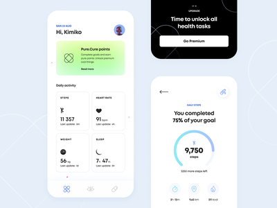 Health Guide - Mobile App golden grid design concept ui ux mobile figma schedule notification indicator gradient pills drugs sport medicine icon health illustration arounda