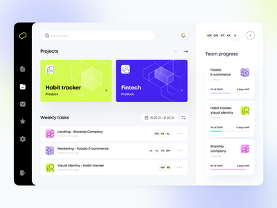 Projectager - Web app manager product design ux ui figma concept web glass business statistic progress geometry planning illustration task icon startup interface saas arounda
