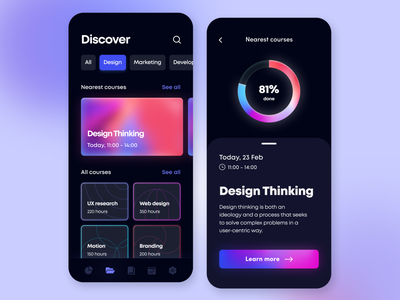 Skill Courses - Mobile App arounda concept mobile app card ui dark geometry glow glass dashboard interface figma illustration application education indicator icons graphic gradient