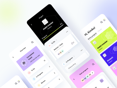 Projectager - Mobile app manager product design ux ui figma concept web glass business statistic progress geometry planning illustration task icon startup interface saas arounda