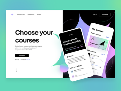Sparkly Platform - Landing page course product design ux ui figma concept landing glass business statistic cards geometry gradient illustration education icon startup interface saas arounda