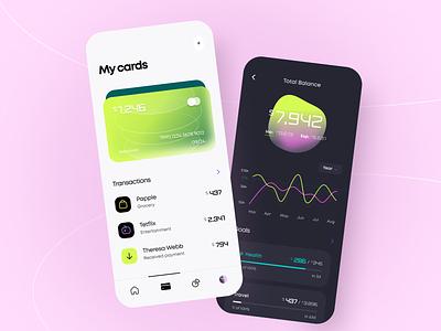 Limebank - Mobile app glassmorphism banking product design ux ui figma concept mobile payment business balance finance fintech transaction gradient graph startup interface saas arounda