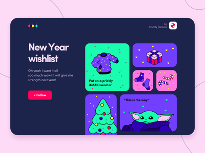 New Year Wishlist - Web concept typography ratio golden grid cards figma interface illustration color palette star wars yoda christmas ux ui new year wishlist web concept arounda