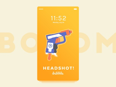 Boom! Headshot 🔫 screen mobile illustration gradient orange ux ui interface ios nerf