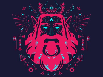 King Rhoam Hyrule king vector illustration fluo blue pink link triforce zelda rhoam hyrule romain sentenac