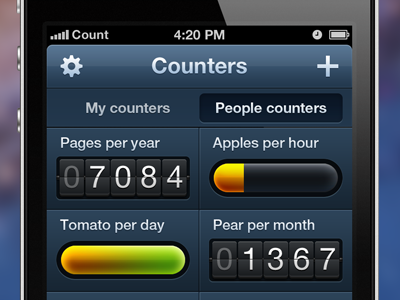 Counters App - Dashboard markpixel counters gloss black app ipad ipod iphone ios mac retina apple