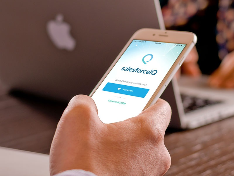 New login screen clean simple user interface mobile layout crm login salesforceiq inbox