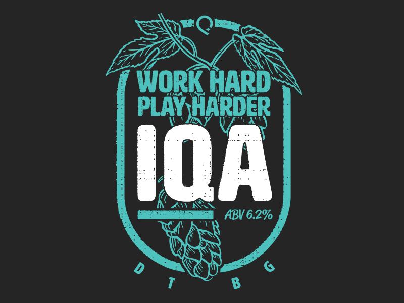 IQA Beer Label  dtbg iqa hops ipa beer beer label layout illustration crm inbox salesforceiq