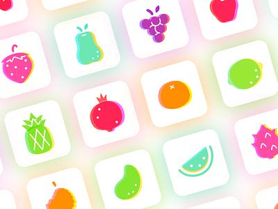 Fruit icons ux ui fresh lovely colorful illustration cartoon icon fruit