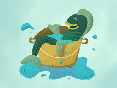Fish In A Barrel barrel fish illustration