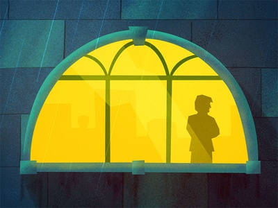 Window friday the 13th micro story mysterious illustration