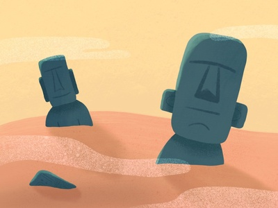 Stone Heads statues stone heads childrens book kid lit illustration
