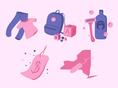 Illustrations for Pink Tax Website pink tax design vector illustration
