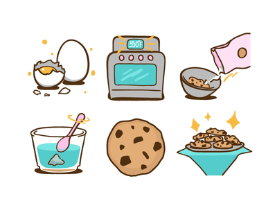 Illustrations for Cookie Recipe lolax set vector design icon illustration recipe cookies