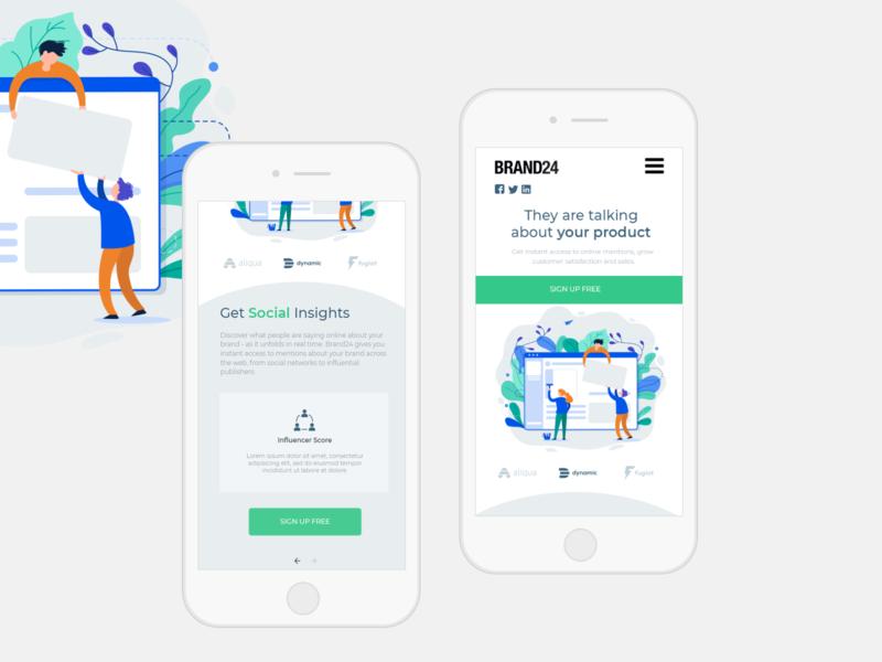Brand24 - UI rwd concept social site user interface design homepage responsive design rwd redesign brand24 clean typography information ux minimal design ui