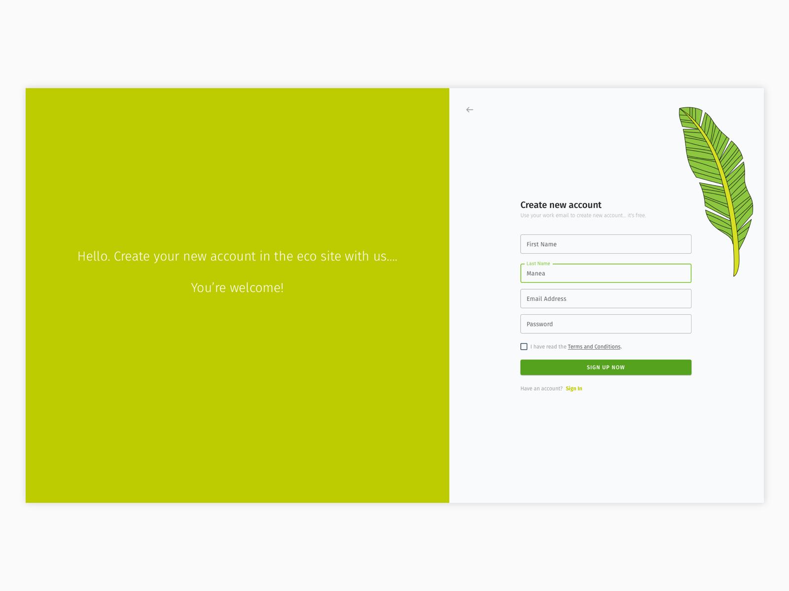 Eco site registration