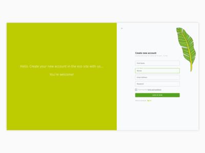 Eco site register - UI