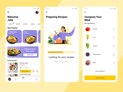Cooking App vector ui landign page food app ui illustration
