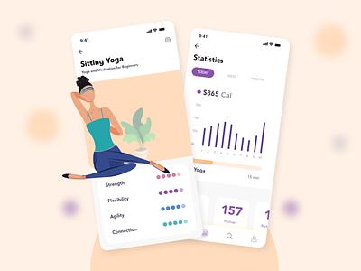 Fitness App landing page design yoga app mobile app illustration