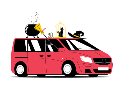 Witchcraftswissenschaft witchcraft magic broom cauldron mercedes-benz mercedes potions cage cat wizardry hat witch simple car red vector illustration