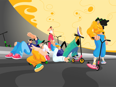 All The Cool Kids yellow sport urban skate scooter sunset cool teenagers teens kids vector illustration