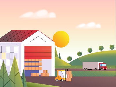 Morning Delivery logistics morning boxes truck delivery warehouse vector illustration