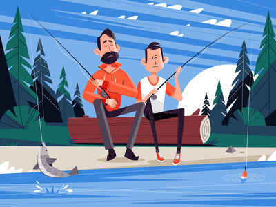 Fishing tree logs river lake activity hobby forest son dad family rod fishing vector illustration