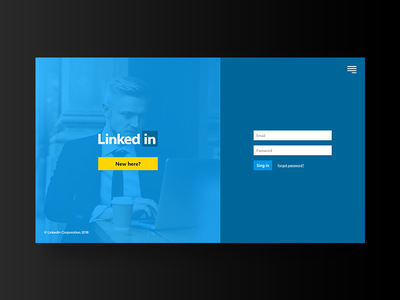 Linked In Sign in page xd web design clean solid blue ux ui linkedin
