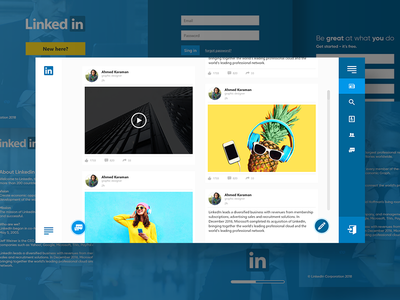 Linked In Home page xd web design clean solid blue ux ui linkedin