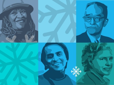 Holiday Card Cover vector squares grid morrison sagan snowflakes illustration portrait holiday