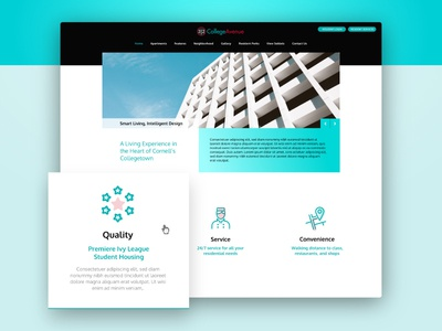 Some ui exploration homepage home gps quality service icons slider teal building apartment ux ui