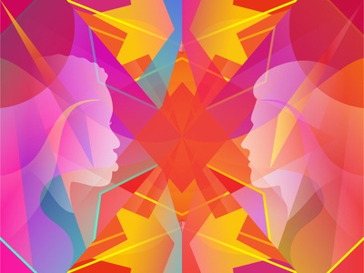 Illustration converge kaleidoscope profile colorful bright illustration eclectic convergence