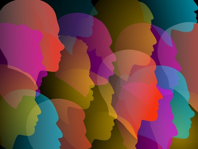 Unity people icons society abstract illustration audience unity faces gradients people